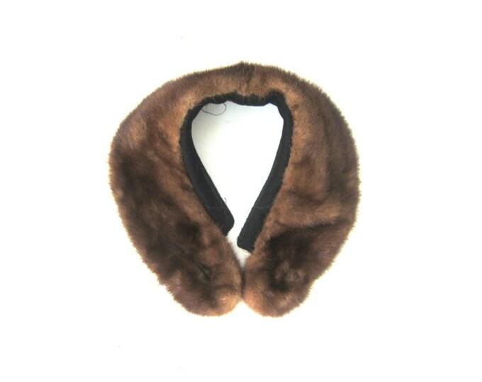 Vintage Fur Collar Neck Piece Scarf for Repurposing Textile Art Piece Crafting Brown Animal Fur Collar