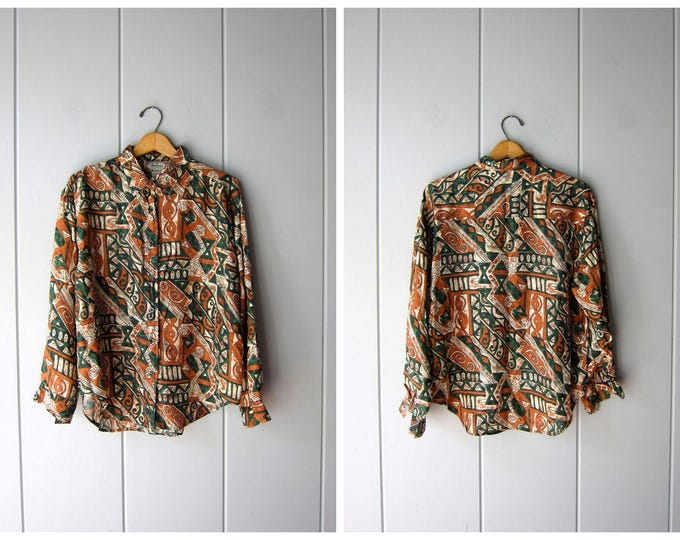 Vintage Silk Blouse Button Up Long Sleeve Slouchy Abstract Minimal Silk Shirt Green Copper