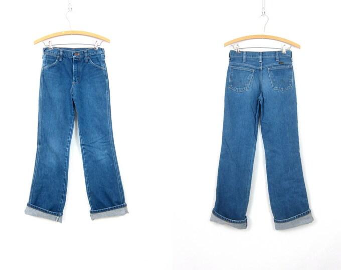 1980s Distressed Blue Jeans Wrangler Bootcut Boyfriend Jeans Vintage Worn In Work Jeans Hipster Blue Denim Size 26 x  32