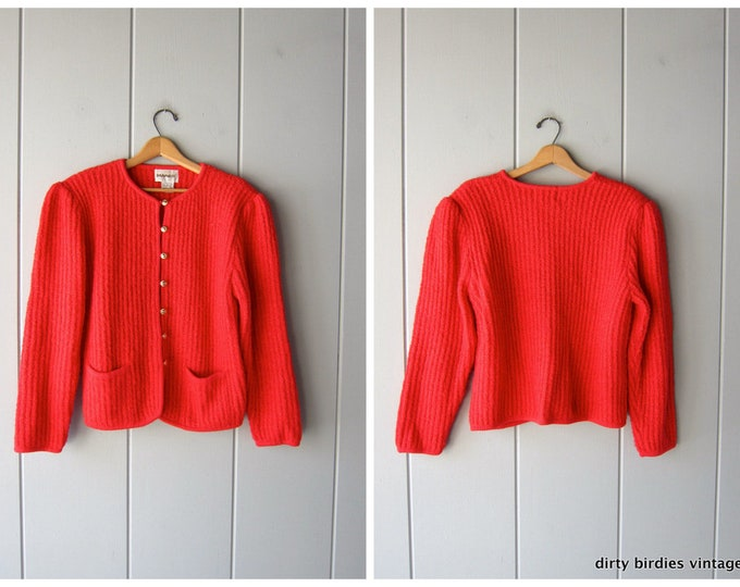Oversized Red Ribbed Cardigan 80s Vintage Button Up Holiday Sweater Chunky Sweater Coat with Pockets Minimal Sweater Womens XL