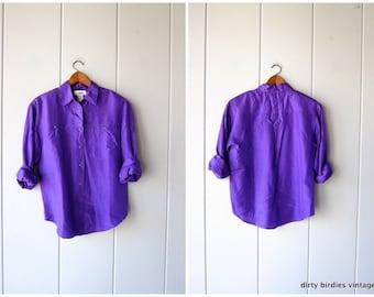 a5e62a4c Purple Silk Blouse Slouchy Button Up 90s Silk Shirt Minimal Loose Fit Silk  shirt 1990s Top Vintage Womens Small Petite