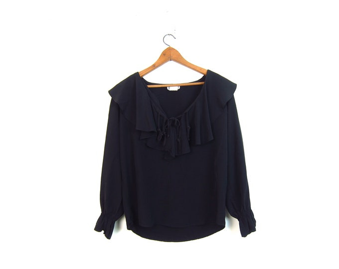 Black Ruffled Blouse 80s Peasant Shirt Slouchy Boho Fringe Top Vintage Bohemian Ruffle Bib Top Womens Medium