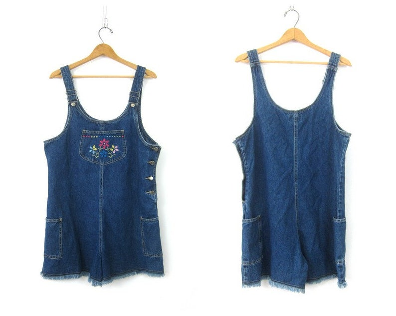 6514333b5d Vintage 1990 s Bib Shorts Dark Wash Denim Jumper Bibs