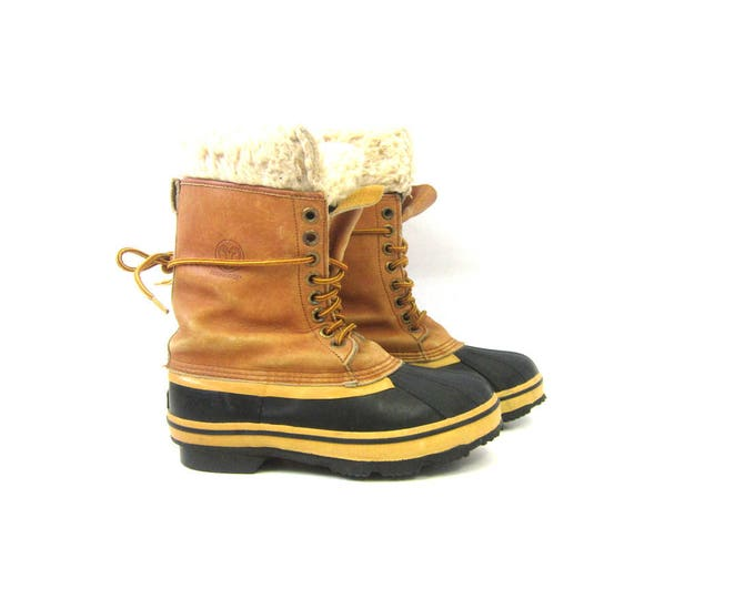 Tall Vintage Duck Boots waterproof Permahyde rubber leather Winter Fall boots tall garden rain boots Suede Cuff ankle boots Men's Size 7
