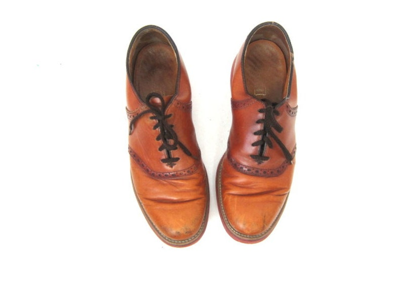 Brown Leather Men's Shoes lace up dress Shoes Leather Dexter Oxfords Hipster Rockabilly Brogues Man's size 9