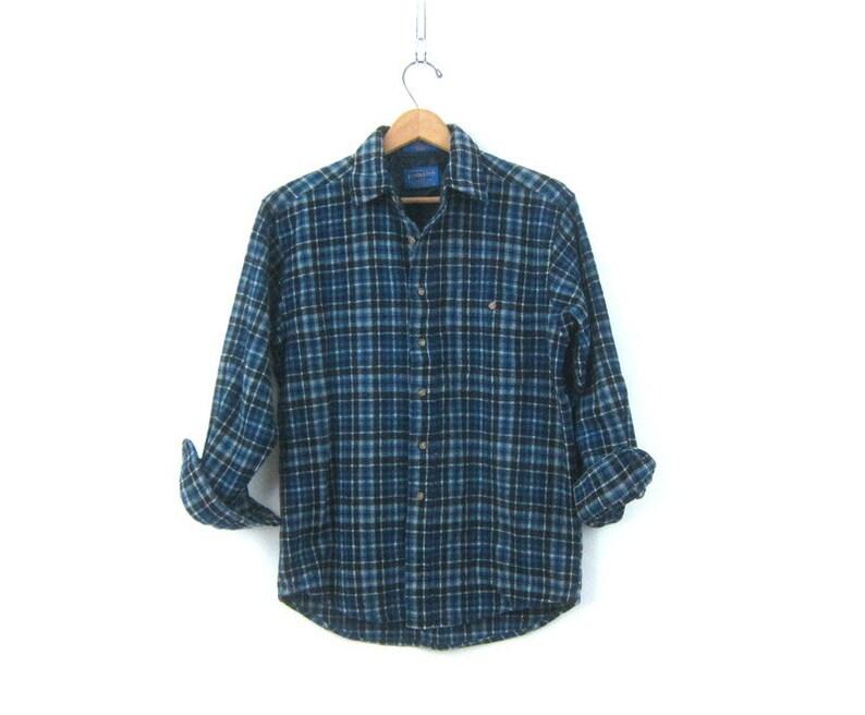 223e0b3b7 Blue Plaid Wool Pendleton Flannel Button Up Wool Shirt Preppy | Etsy