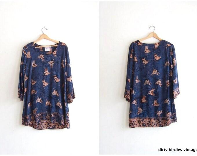 Vintage Boho Mini Dress Bird Print Hand Made Indonesian Bohemian Blue Tunic Top Dress Boho Rayon Dress Womens Medium