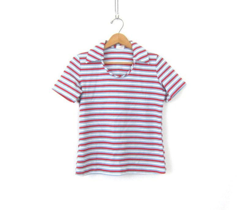 e653f4feeeb9 70s Striped Poly Top Hipster T Shirt Retro Stripe Print Blouse | Etsy