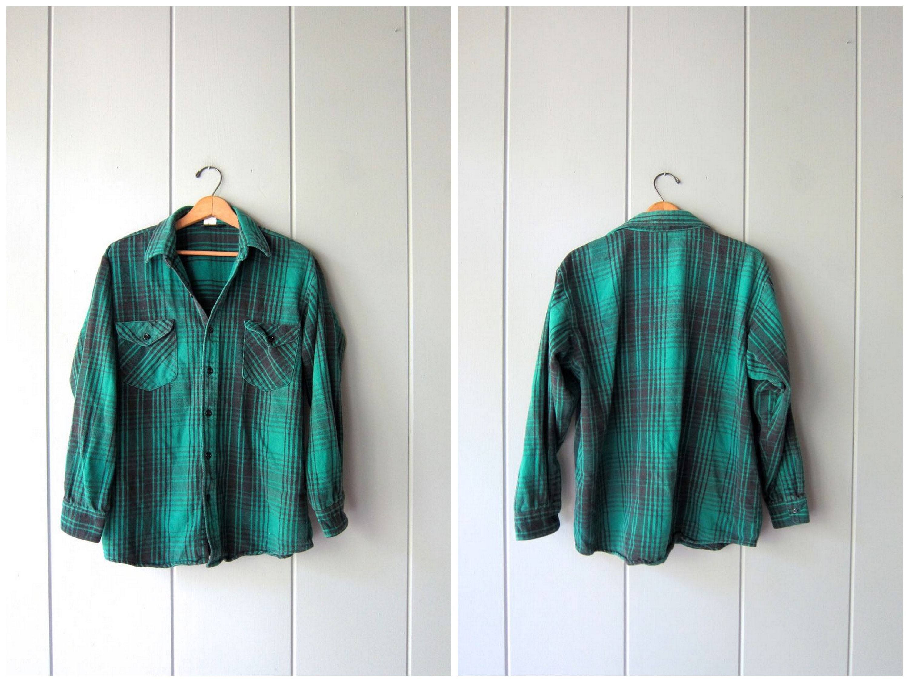 Vintage Flannel Shirt Button up Grunge Shirt Green Black Buffalo ... 5b8390ba43a