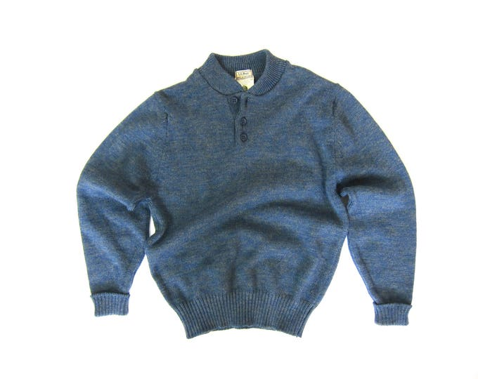 LL Bean Sweater | 80s Wool Henley | British Wool Sweater from England | Vintage Henley Pullover Open V Button Up Blue Sweater Mens Medium