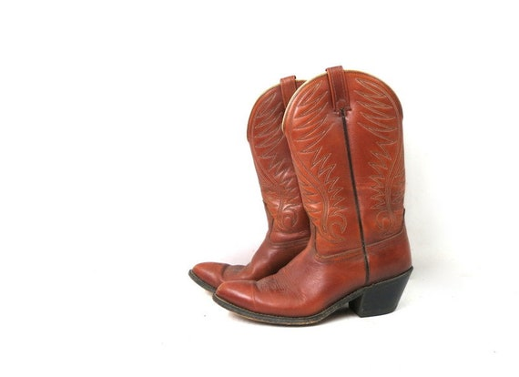 1980s Vintage Brown Leather Look Boots DINGO ACME… - image 1