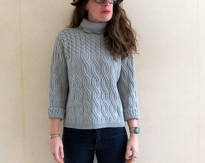 Cropped Sweater 90s Turtleneck Grey Boxy Knit Sweater Gray Cable Knit Sweater Minimal Boho Preppy Pullover Womens Medium Large