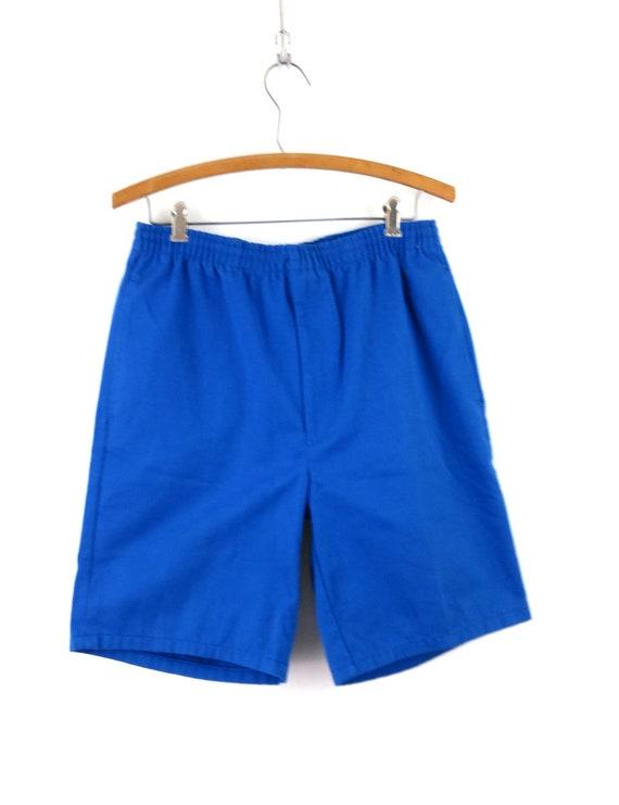 Vintage Blue 1980's Shorts Retro Elastic Waist Sh… - image 2