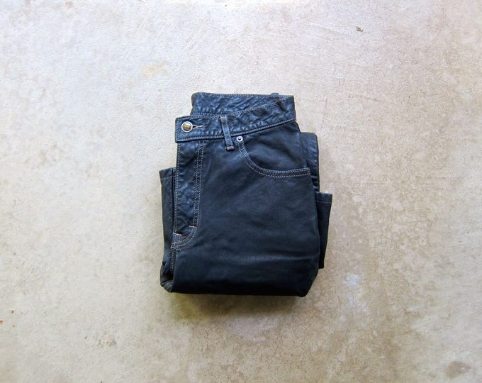 Black Suede Leather Pants 90s MOTORCYCLE BIKER Pants Grunge Punk Hipster Leather Punk Rock Jeans Leather Work Pants Moto Womens Medium 6