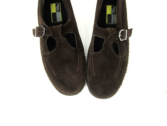 Dark cuir Brown sandales Strap En T mocassins x6XpUUa