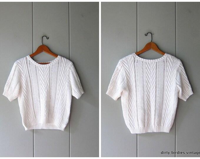 90s White Knit Top