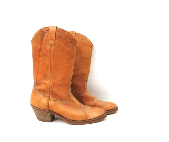 1980s Vintage Tan Leather Look Boots DINGO ACME C… - image 1