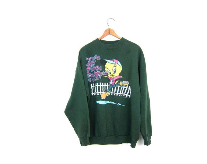 Vintage TWEETY SWEATSHIRT 80s 90s Looney Tunes Sweatshirt Slouchy Green Tweety Bird I Can Only Please One Person A Day Sweater Large