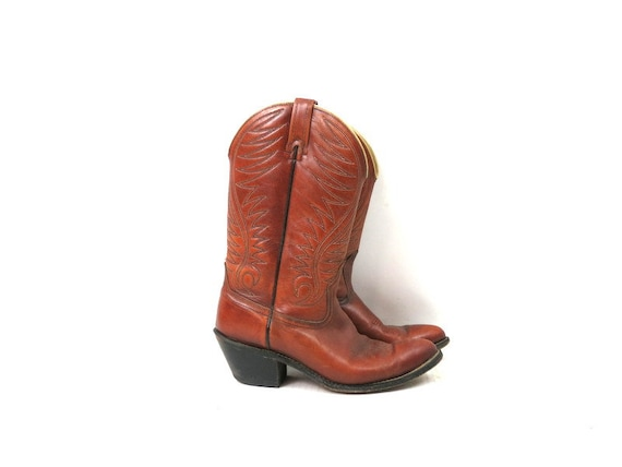 1980s Vintage Brown Leather Look Boots DINGO ACME… - image 3