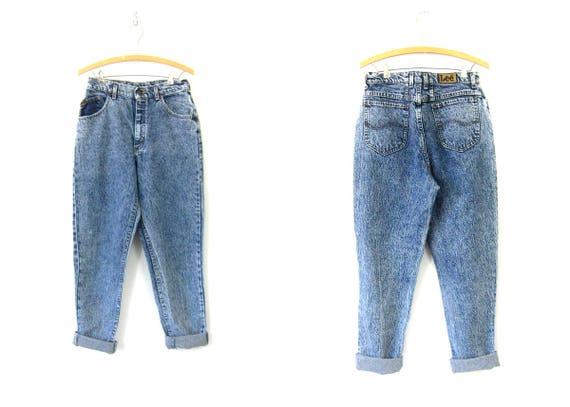 49cc89d413 LEE 80s High Waist Stone Wash Jeans Blue Acid Wash Denim