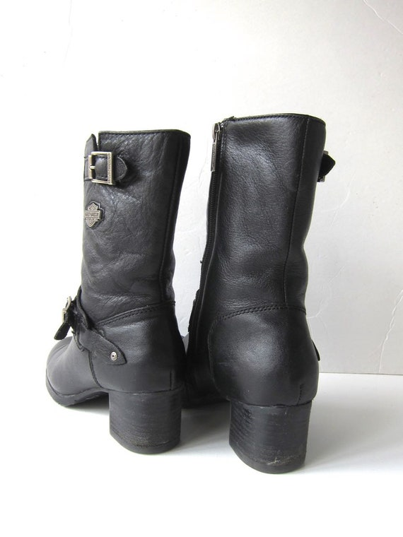 Moto Engineer Combat Boots Harley Davidson Boots 9 5 Leather Biker Chunky Grunge Motorcycle Ankle Zip 8 Boots Womens Buckled Up Tall Black qwgE6vx