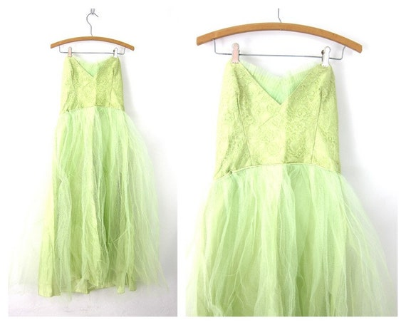 1950s GREEN Party Dress Strapless Sweetheart Top T