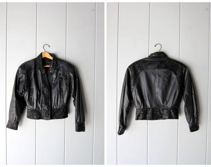 Vintage 80s Black Leather Coat Cropped Black Leather Bomber Jacket Slouchy Suede Jacket Crop Biker Motorcycle Jacket Women's Small Medium