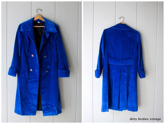 Blue Velveteen 60s Coat Mod Military Velvet Coat Double Breasted Vintage A Line Trench Womens Small Medium by Etsy