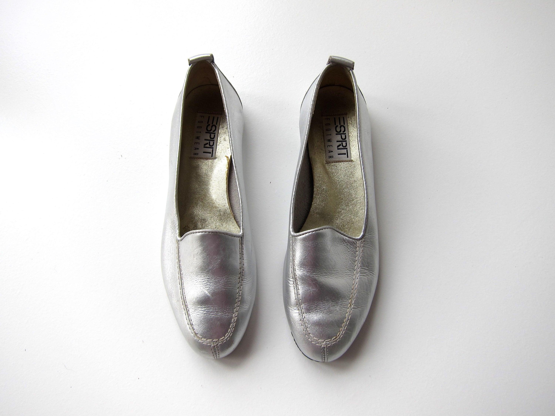 7edbb181769 Silver Leather Slip ons 90s ESPRIT Metallic Leather Loafers