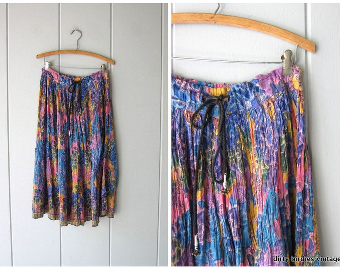 70s Cotton Gauze Hippie Skirt Colorful Print Indian Skirt Pink Blue Boho Tribal Gypsy Midi Skirt Sheer India Skirt Womens Medium OSFM