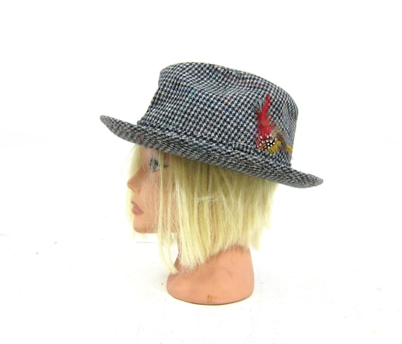 Mens Vintage Tweed DOBBS Fedora Hat with feather 1950s Hipster 7aeb1857a9ea