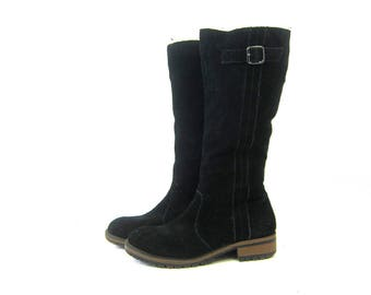 Tall Black Suede Leather Boots Side Zipper Boots Casual Biker Boots Street Wear Fashion Boots Women's Shoes size 9.5 B