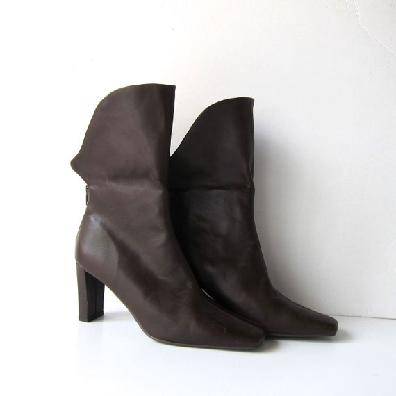 9 Toe Camel Booties Boots High Leather Zip Heel Womens Pointy Vintage 90s Modern Over Boots Fold Leather Up Low Ankle Calf Brown Boots 80OAnBFwq