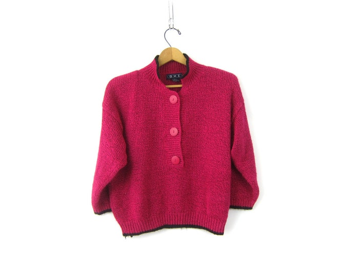Vintage 1980s pink sweater preppy knit Henley sweater top pullover Collar jumper Cropped Sweater Women's Size Large