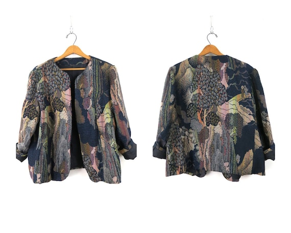 Vintage 90s Tapestry Blazer Jacket Top BFA Classics Blue Tan Brown Green Floral Button Up Retro 1990s Size XL