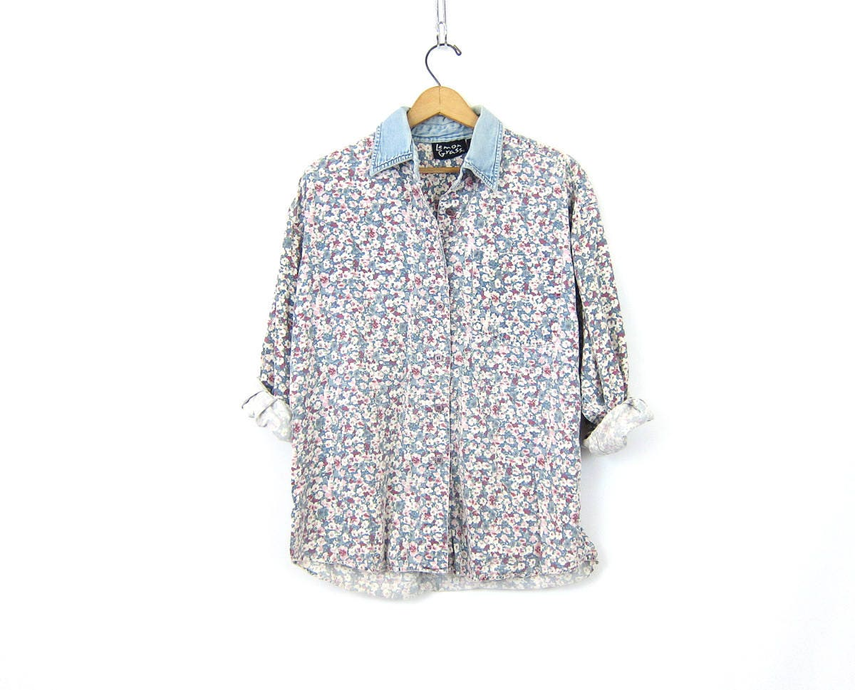 Pale Floral Blouse Button Up Blue Pink Flower Print Top Long Sleeve