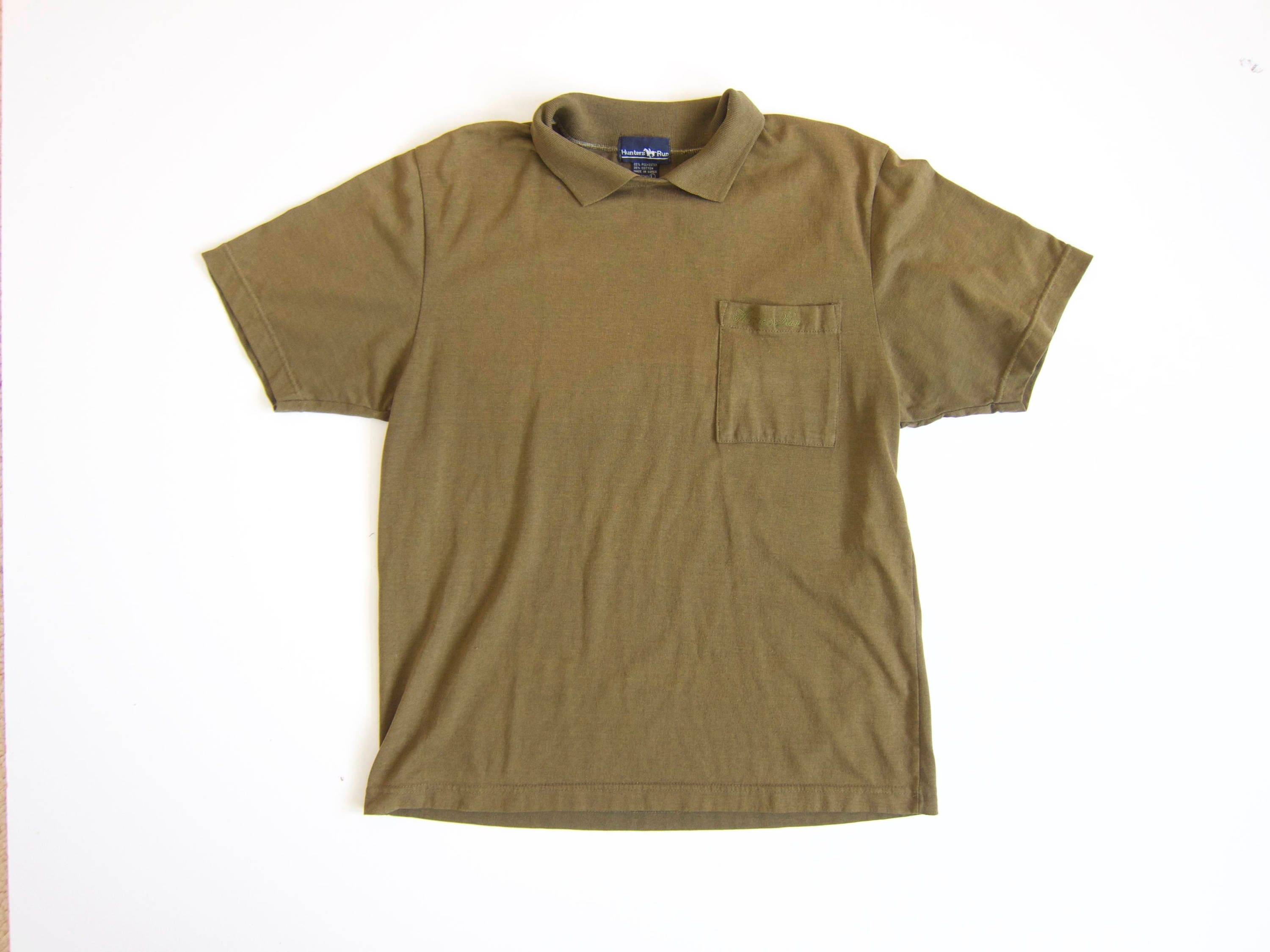 Oversized Green Tshirt Army Green Polo Shirt 80s Collared Etsy