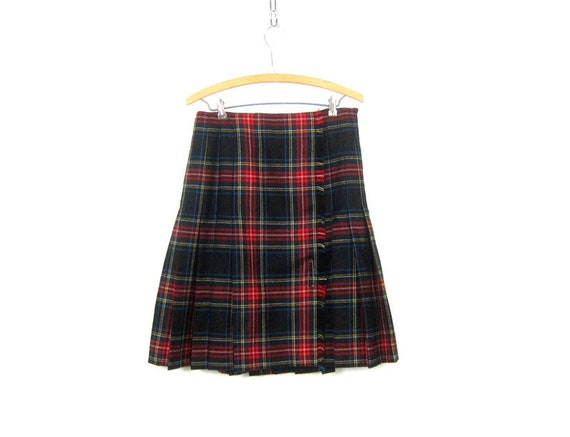 Red Plaid Wool Kilt Skirt School Girl Pleated Wool High Waisted 90s Preppy Checkered Revival Vintage Lolita Knee Skirt 1980s Size 8