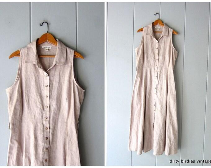 Collarless Linen Dress - Large