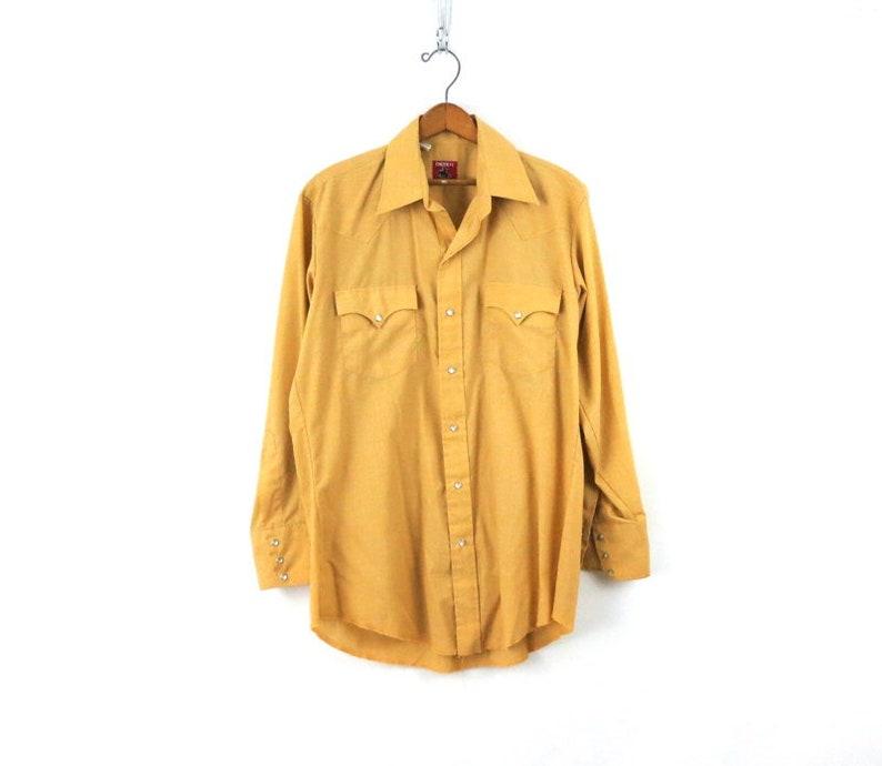 Rockabilly Western Shirt Vintage Western Wear Shirt Mustard Pearl Snap Cowboy Shirt 80s Chute Boyfriend Shirt Mens Medium Large