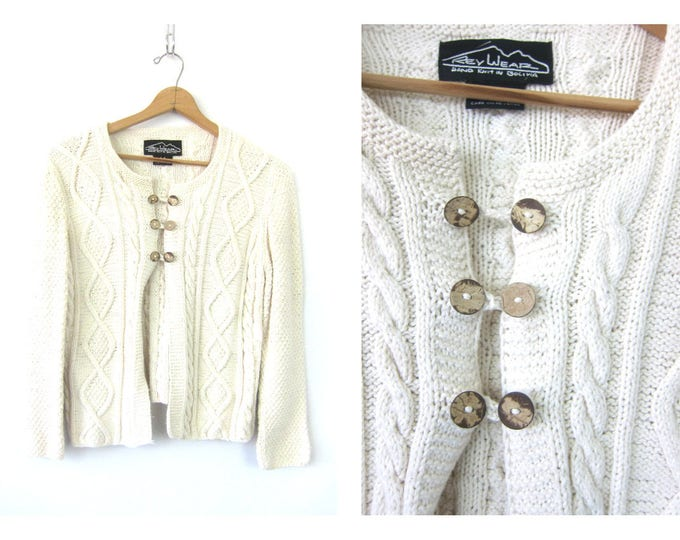 White Sweater Button Up Cardigan Cropped Cable Knit Sweater Vintage Basic Preppy Slouchy Button Up Sweater Womens Medium