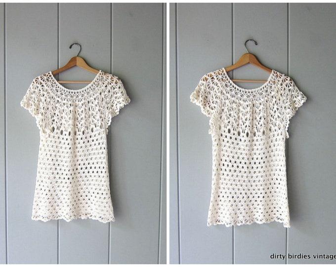 70s Open Knit Cotton Top Cut Out Woven Knit Top SHEER Crochet Shirt Natural White Knit Tunic Top Vintage Minimal Crochet Blouse Women Medium
