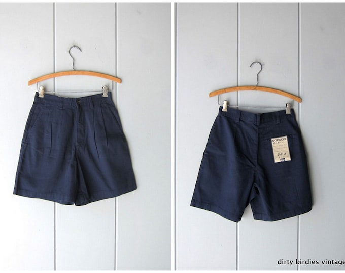 90s Navy Blue Dockers Shorts High Waist Pleated Khakis Cotton Preppy Camp Shorts Casual Summer Prep Shorts Minimal Shorts Womens 4 Small