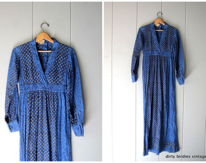 Vintage Indian Dress 70s BOHO Block Print Maxi Long Blue Ethnic Hippie Shirt Dress Cotton India Dress 1970s Vintage Boho Dress Womens Small