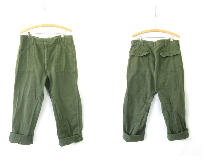 Authentic US Army Pants Vintage United States Military Zipper Fly Utility Cargo Trousers Green Fatigues Urban Grunge Punk Size 34 x 32