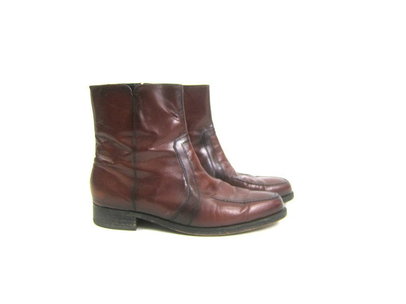 8bb49366203 Vintage men's Florsheim Rockabilly Boots Reddish Brown leather western  ankle boots Side Zipper Beatle Boots Men's Size 10.5
