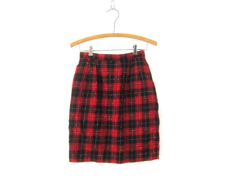 6993826ee1 90s Plaid WOOL Skirt High Waist Mini Skirt Preppy Tartan Skirt | Etsy