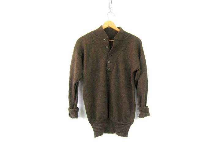 Drab Olive Army Henley Sweater Green WOOL Sweater Military Pullover Grunge Vneck Button Up Boyfriend Sweater Vintage Size Large