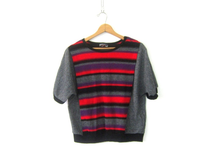 80s Red & Black Striped Sweater 1980s Retro Loose Knit Gray Tee Baggy Oversized Fit Thin Sweater Shirt Womens size XO XXL