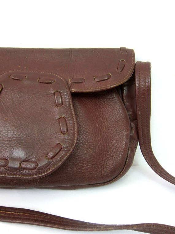 a5ae1a0a0a7 Small Brown Leather Purse 1970s Saddle Bag Pouch Vintage   Etsy
